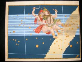 Bayer Uranometria 1661 Folio Hand Col Celestial Map. Gemini 24 Astrology